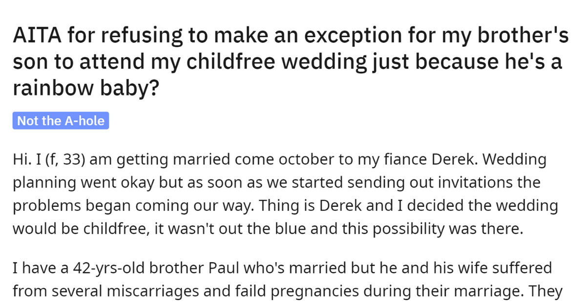 This Bride's Family Refused To Attend Her Child-Free Wedding