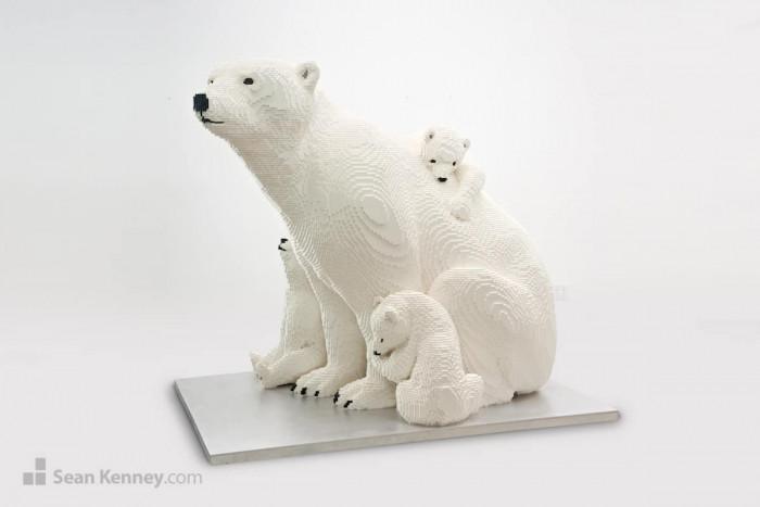 7. Mother Polar Bear and Cubs