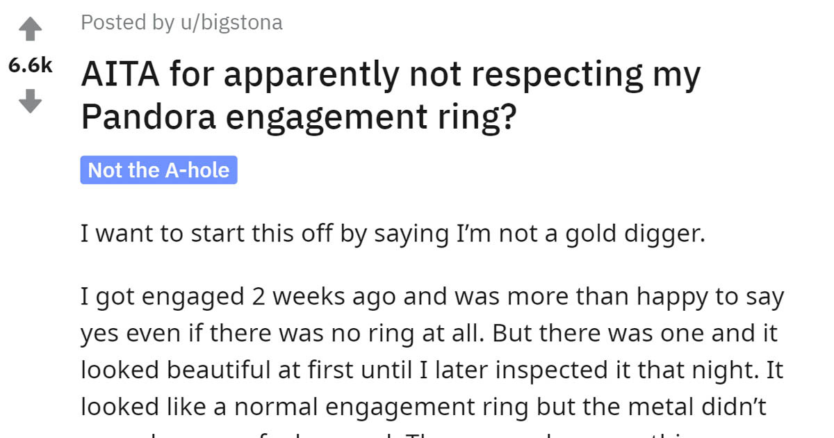 Woman Asks Internet If Her $80 Engagement Ring Is Acceptable