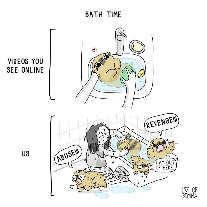 6. Bath time.
