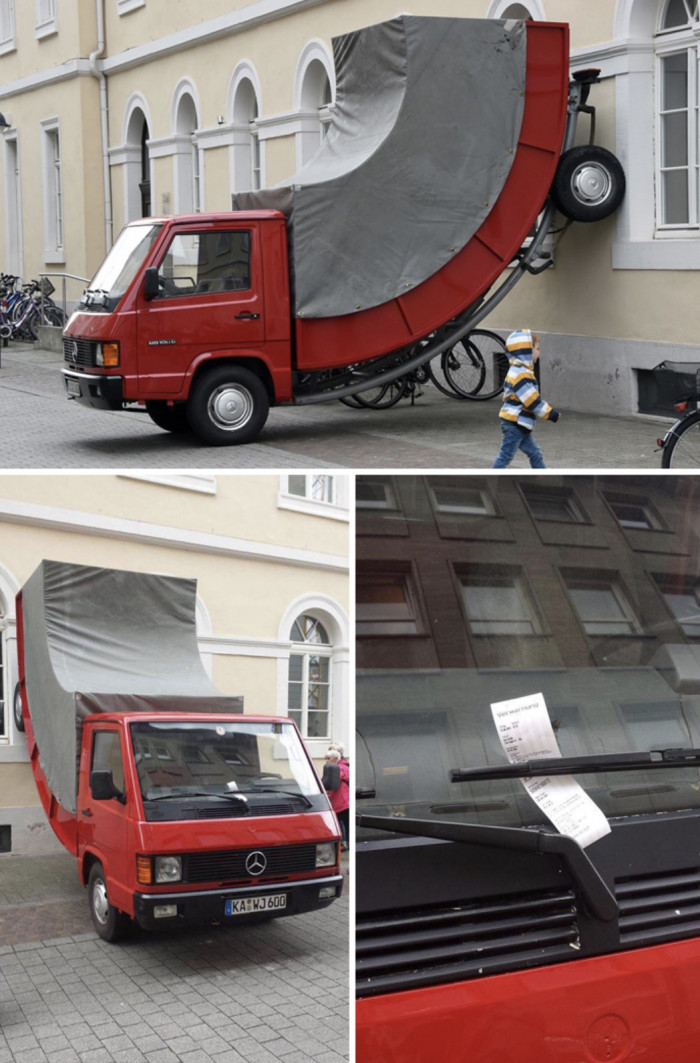"""11. """"A cop gave a ticket to an art piece because he thought it was illegally parked."""""""