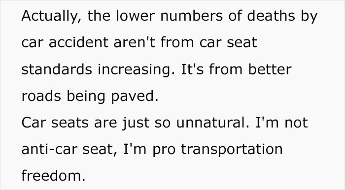 """""""I'm not anti-car seat"""" is the best thing I've heard in ages."""