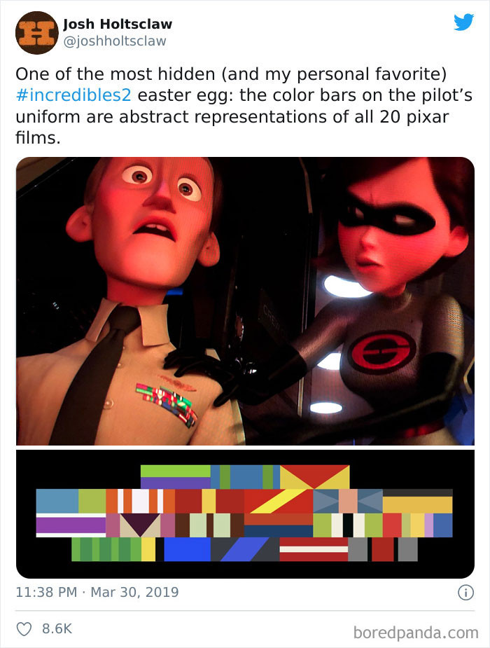 'In Incredibles 2 (2018), The Pilot's Uniform Has Ribbons/Bars That Represent The Color Schemes Of All The Other Pixar Movies To Date.'