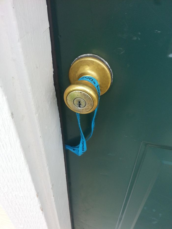 #20 Lanyard Caught On The Handle And My Keys Swung Inside The Door As I Closed It. Stupidest Way To Lock Yourself Out?