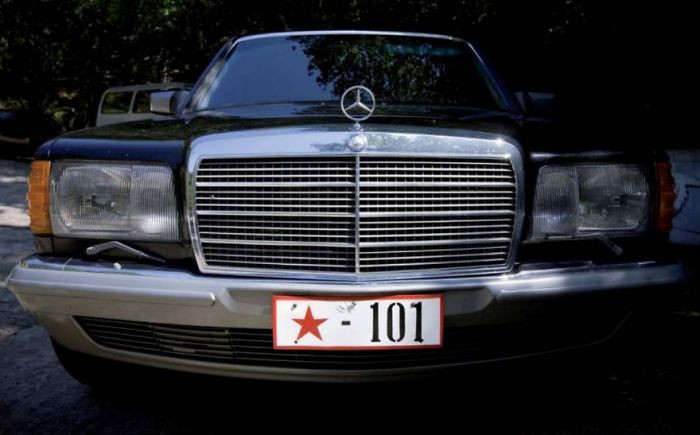 This Mercedes belonging to one of Pyongyang's elites was found near a park, where its owners were holding a barbeque.