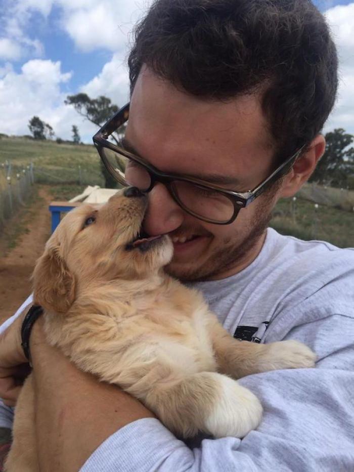 """""""When I met my Goldendoodle pup, Boo."""""""