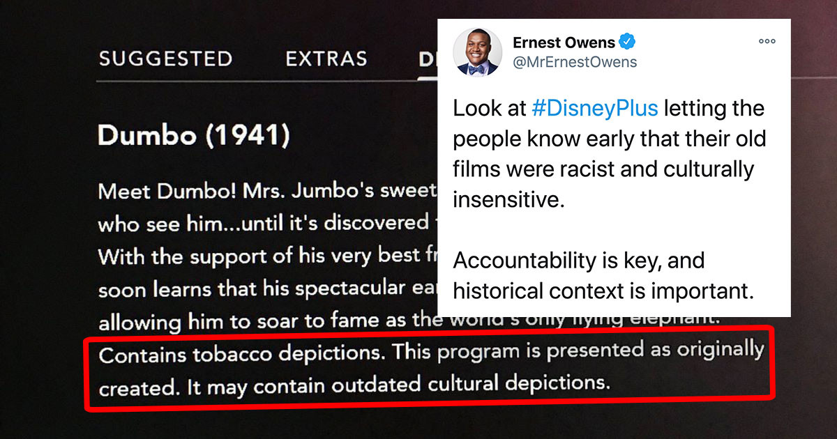 Disney Puts New Racism Disclaimer On Dumbo, Peter Pan, And The Jungle Book - This Time Clearly Stating That It's Wrong