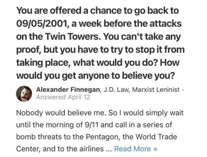 22. There is an alternate timeline where 9/11 didn't happen and this was how it was stopped.