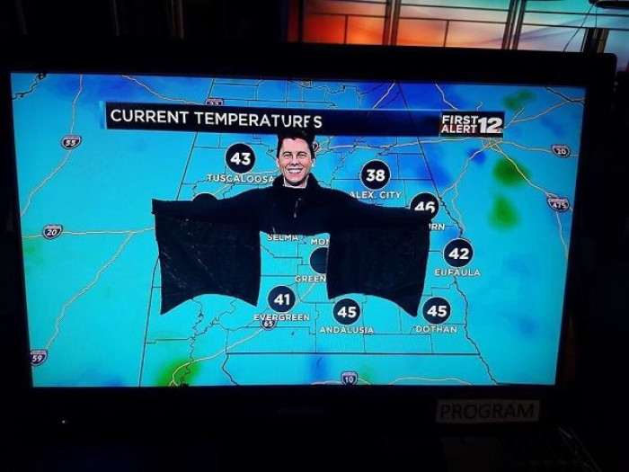 #19 My Local Weatherman Dressed As A Bat For Halloween