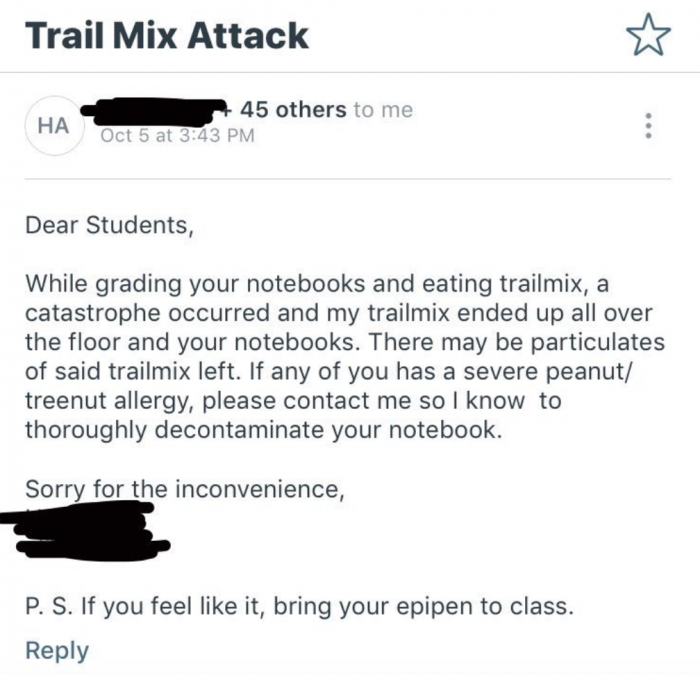 7. This professor who emailed with a subject