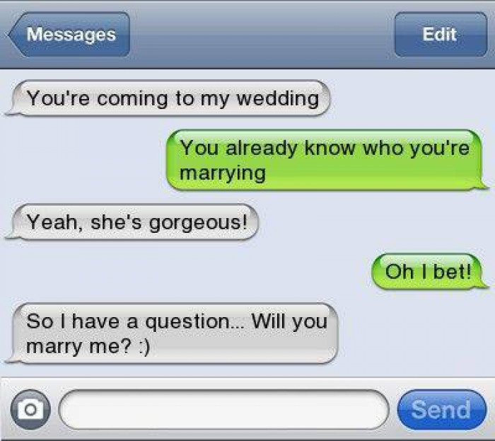4. Proposing via text, ouch