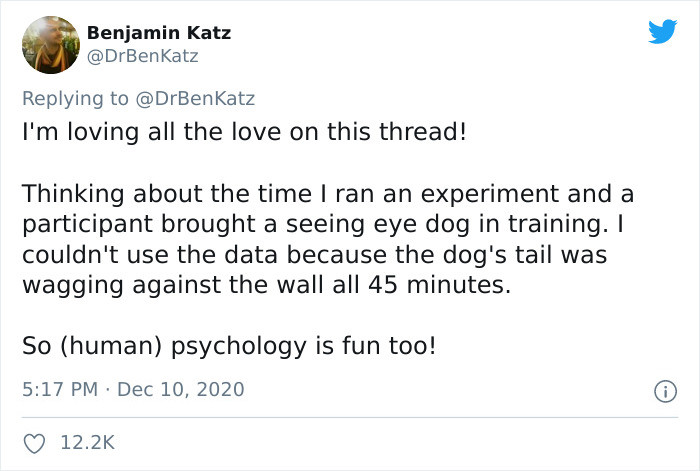 Benjamin is delighted with the way people have been reacting to his adorable thread