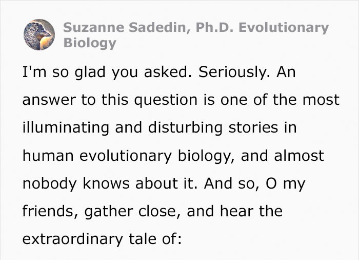 In comes Suzanne Sadedin , Ph.D. Suzaane is an expert in Evolutionary Biology who attended Monash University in 2004.
