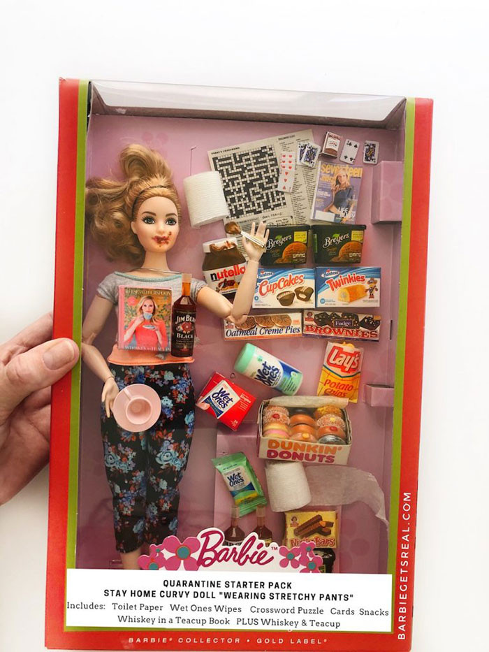 """2. Quarantine Barbie Starter Pack – Stay Home Curvy Doll """"Wearing Stretchy Pants"""""""