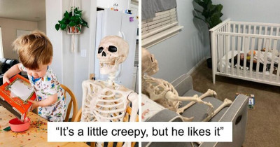 Toddler Became Best Friends With A Creepy Skeleton His Parents Bought For Halloween