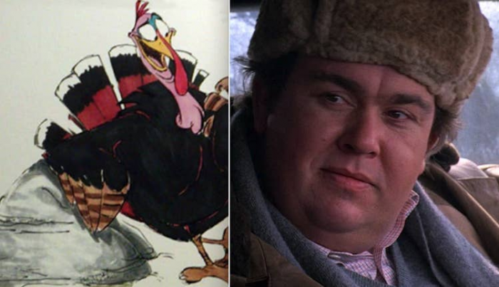 8.  A wise-cracking turkey in Pocahontas, Redfeather, was supposed to be played by John Candy, but the directors decided to remove that role completely after the actor's death.