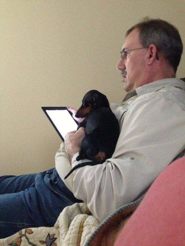 This dad who didn't want an iPad. Or a dog, for that matter.