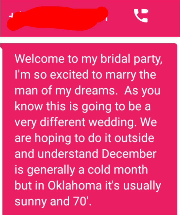 The 'bridezilla' texted her bridesmaids saying hers was going to be a