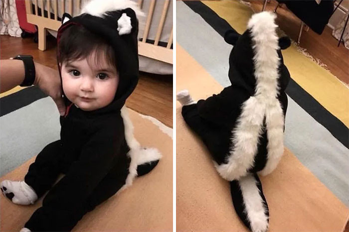 #25 My Best Friend Handmade A Skunk Costume For My Kid's First Halloween