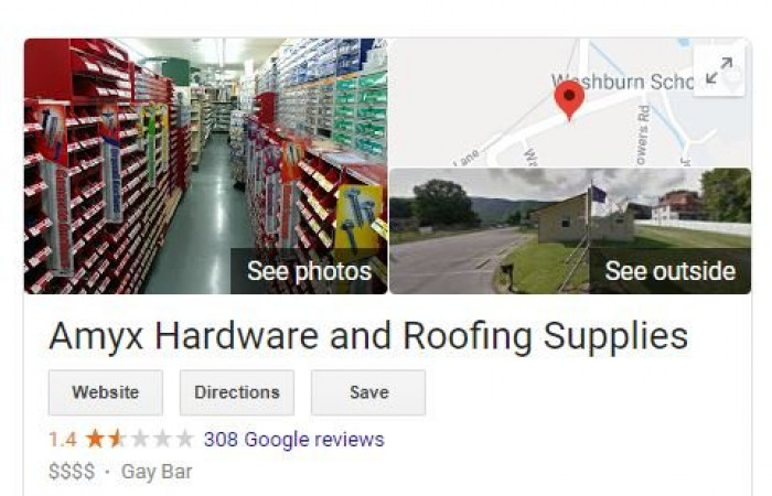 Shortly after, Google reviewers re-categorized the business as a gay bar.