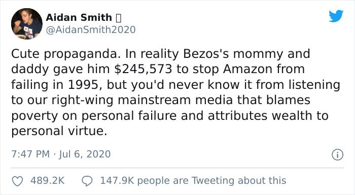 Aidan Smith indicated that Bezos' parents financed him with more than $245k