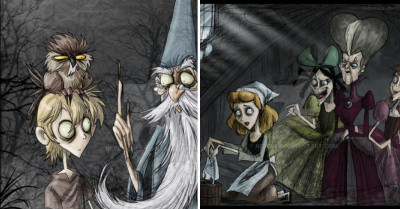Incredible Illustrator Recreates Disney Scenes In Tim Burton's Style