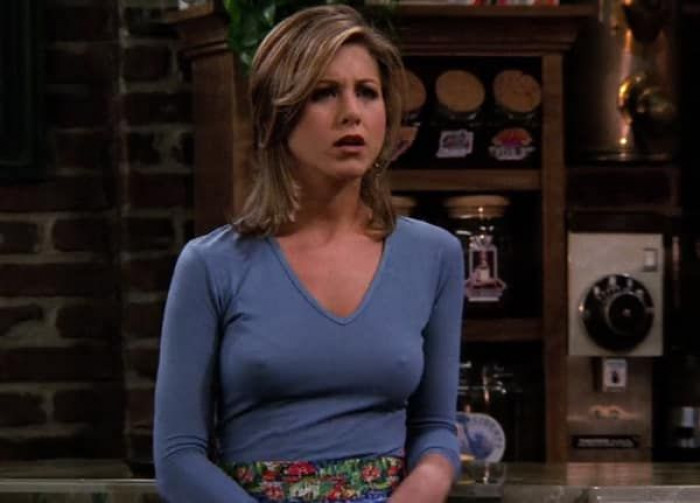 As the iconic series kept showing, the character of Rachel Green became more and more popular...and apparently so did her nipple appearances.