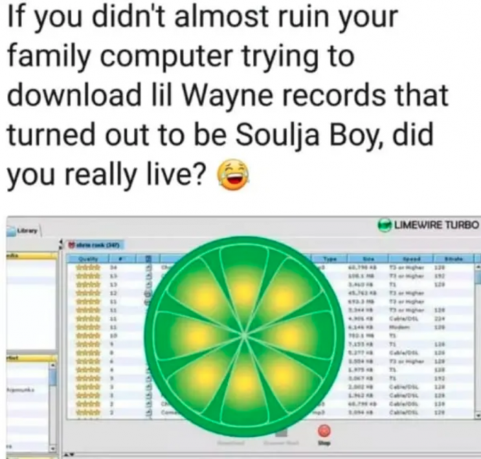 7. You illegally downloaded music. Goodness gracious, Limewire was LIFE!