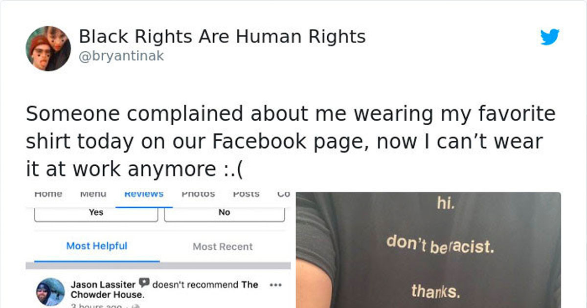 Customer Left Bad Review For Employee Who Was Wearing An Anti-Racist  T-Shirt