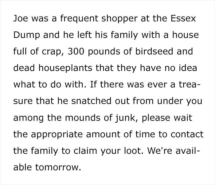 Joe was also a hoarder.