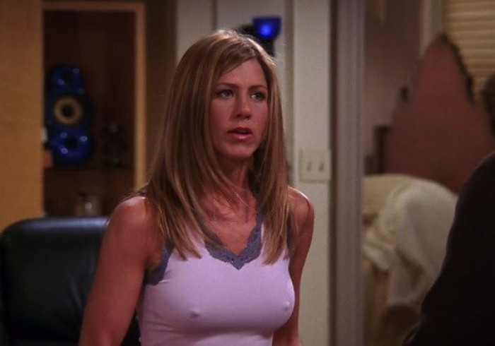Although her style was iconic during the release of the Friends episodes (and still is to this day), all people could really focus on was the nipples!