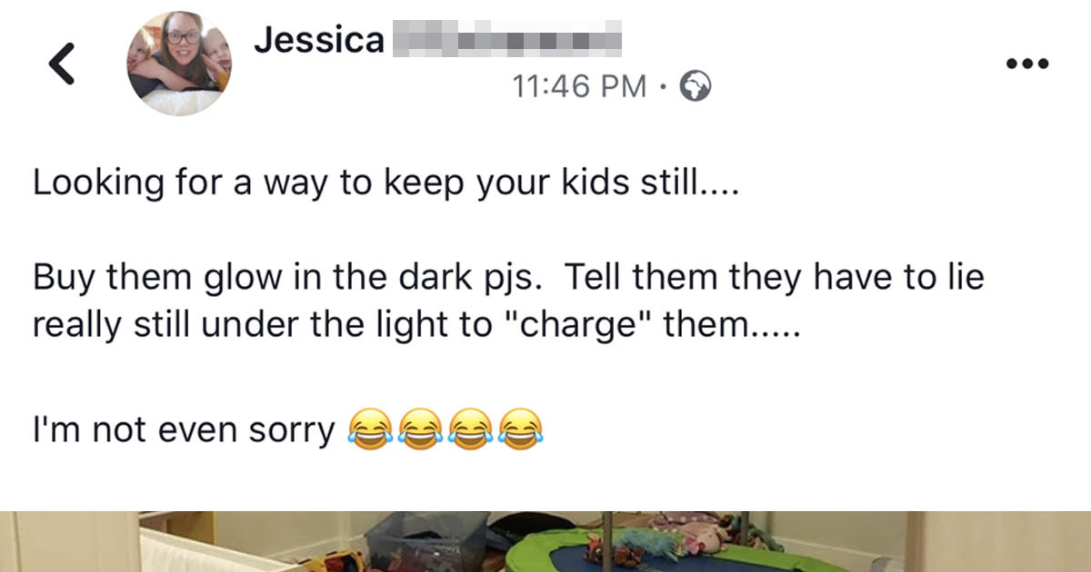 Mom Tricks Kids Into Thinking They Need To Stay Still To Charge Glow-In-The-Dark PJs