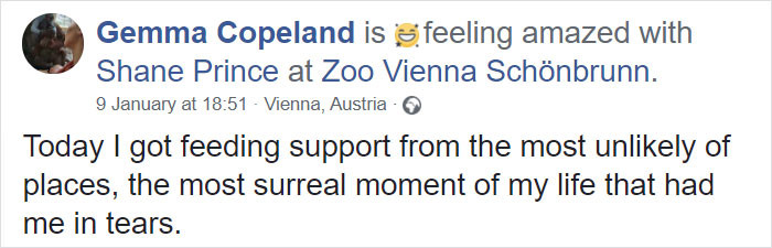This is the status Copeland posted about her encounter.