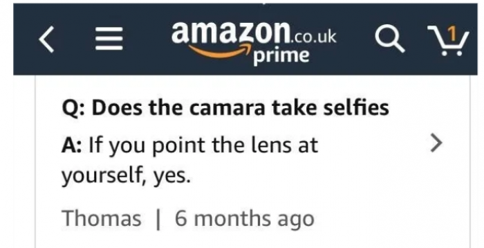 This customer who probably doesn't know how selfie works