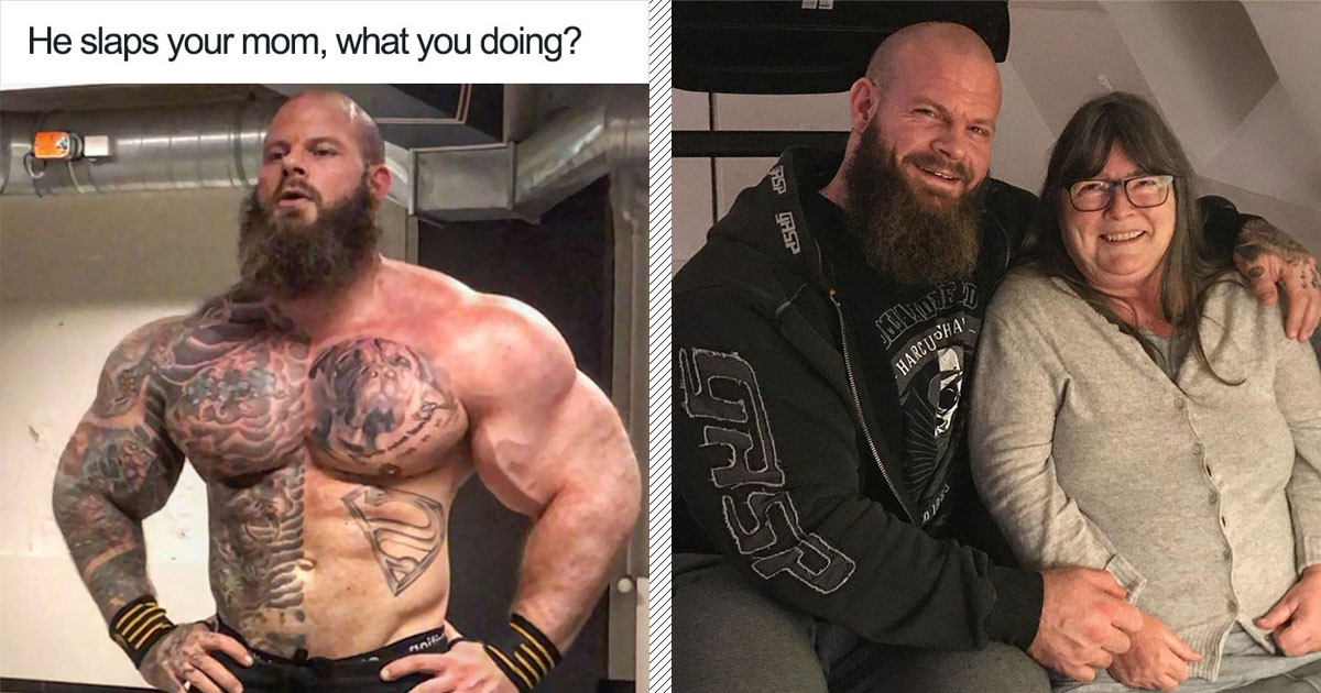 A Bodybuilder Discovered His Picture Was Used In A Meme About Slapping Mothers And His Response Will Warm Your Heart