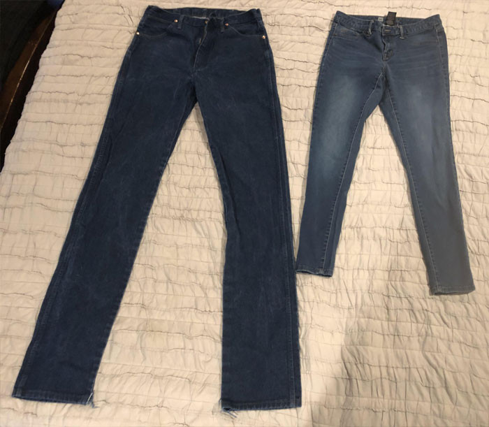 """My Jeans vs. My Wife's Jeans. I'm 6' 3""""and She's 5' 2"""""""