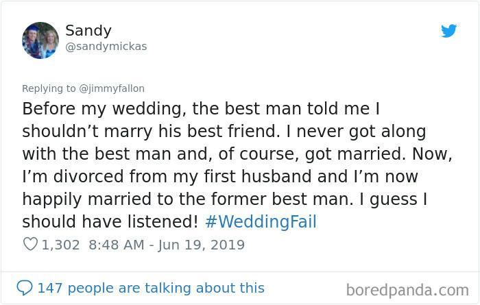 Wedding 1: Fail. Wedding 2: Success!!