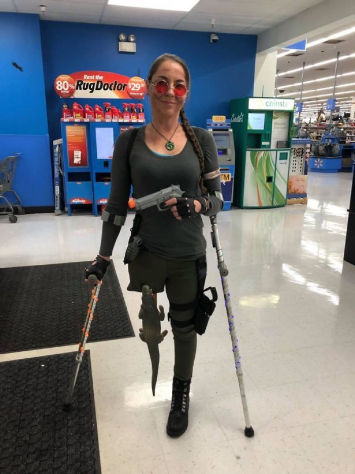 #14 A Little Late But My Wife Dressed Up As Lara Croft For Halloween. She's An Amputee So She Improvised