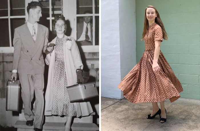 Her daughter wearing her mother's WEDDING DRESS from the '50s!!!