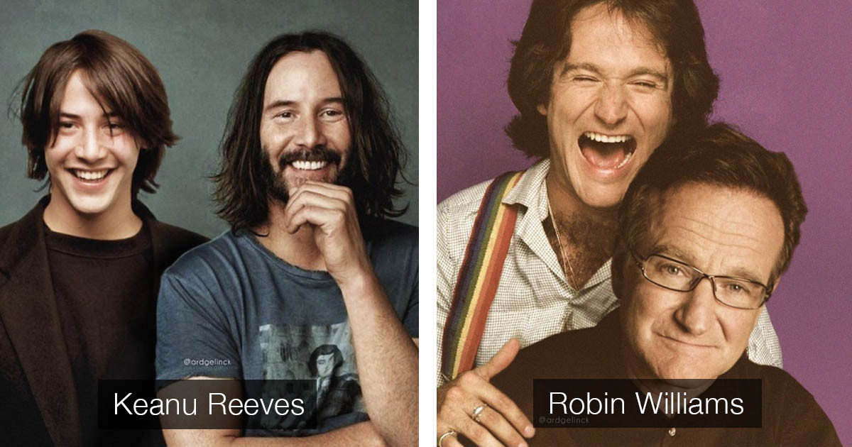 Celebrities Photoshopped Right Next To Their Younger Selves By Dutch Graphic Designer Ard Gelinck