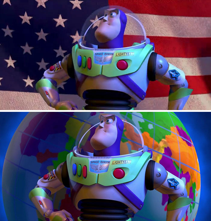'In Toy Story 2 (1999) , The American Flag Is Replaced By The Globe In Rest Of The World.'