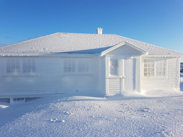 A thin layer of ice built up on a house in Cape Bonavista.. It almost looks magical.