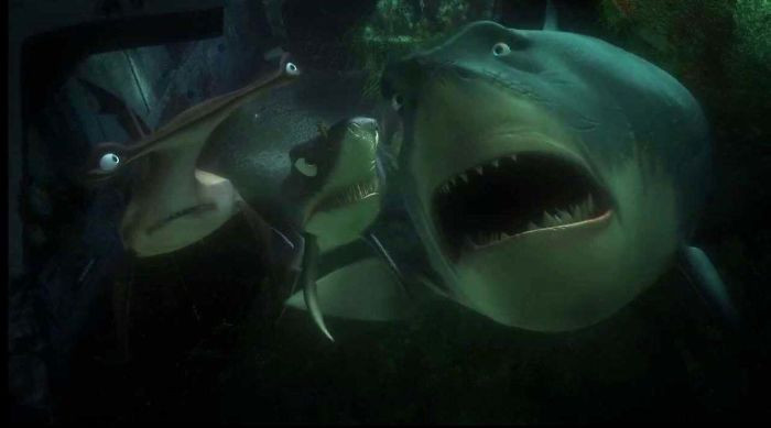 """'In Finding Nemo, Bruce The Shark Starts Crying When Marlin Starts Talking About Nemo, Saying """"I Never Knew My Father"""". Male Sharks Mate With The Female Then Leave, So Baby Sharks Never Actually Meet Their Father.'"""