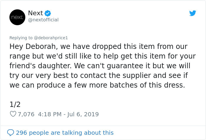Surprisingly enough, the brand that used to carry the dress ended up responding to her Tweet