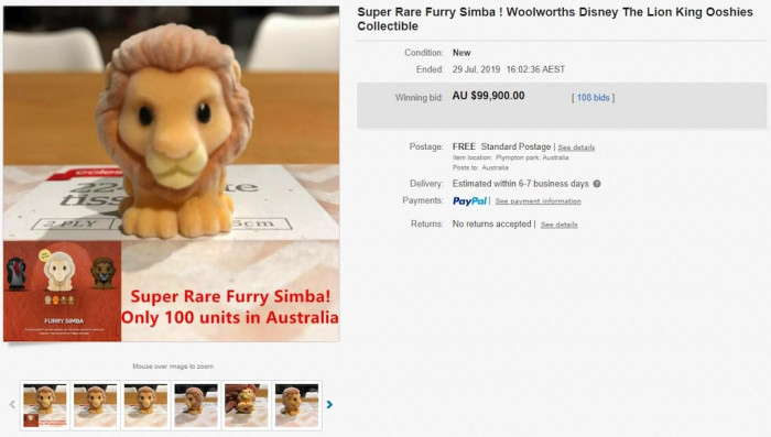On the listing, 108 bids were made over five days and the 'Furry Simba' ended up getting sold for a whopping $99,900.