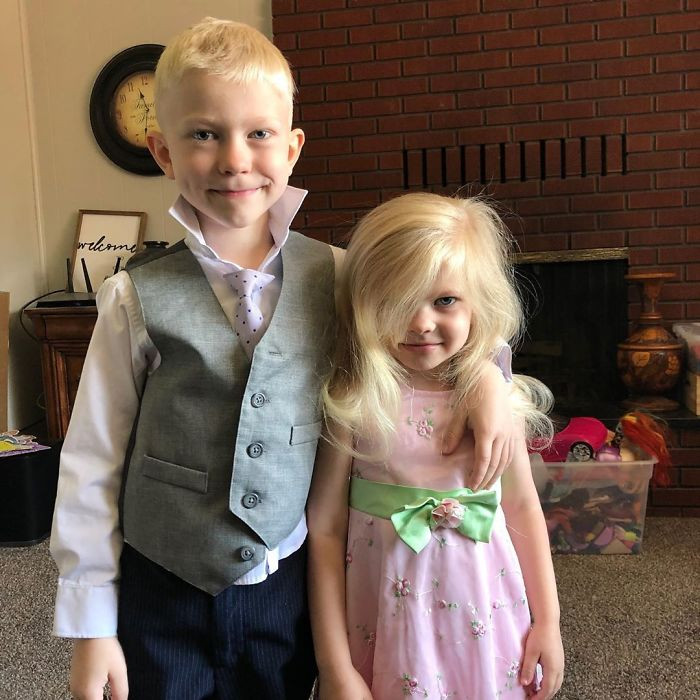 Six-year-old Bridger shielded his 4-year-old sister from an hostile dog that attacked them