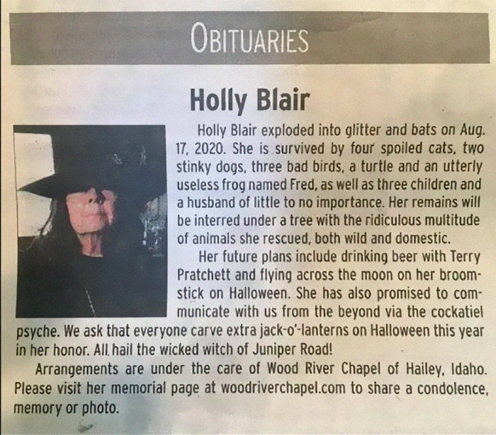 Holly Blair the witch initially became falous after the obituary that was written for her was published.