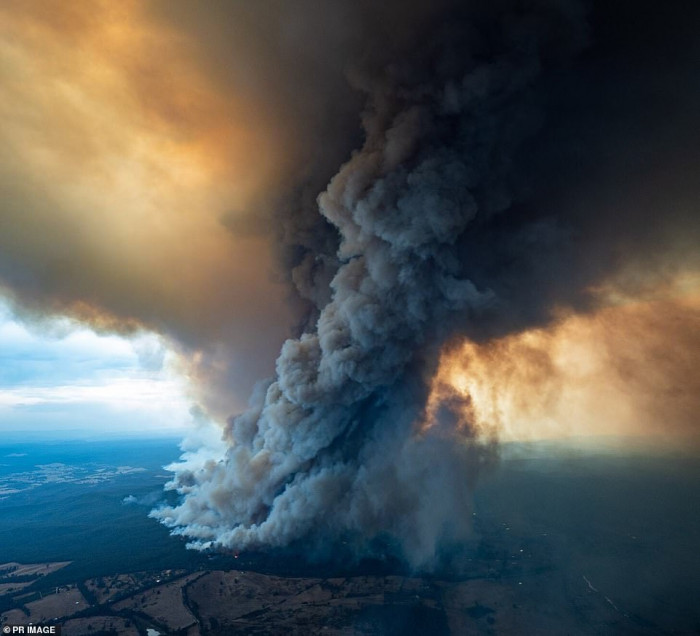An image obtained on Thursday, January 2, 2020, shows smoke rising from a fire blazing at East Gippsland, Victoria