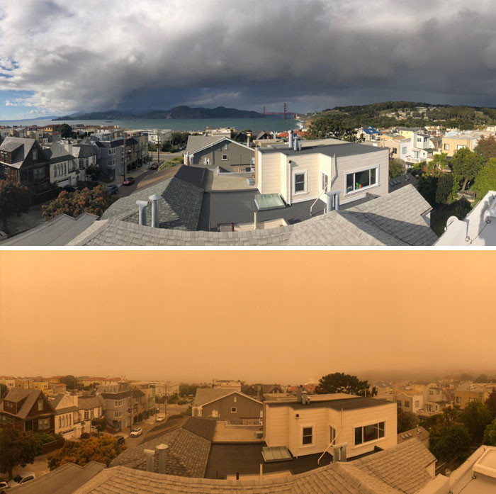 View From My House Of California Normal vs. California With Fires