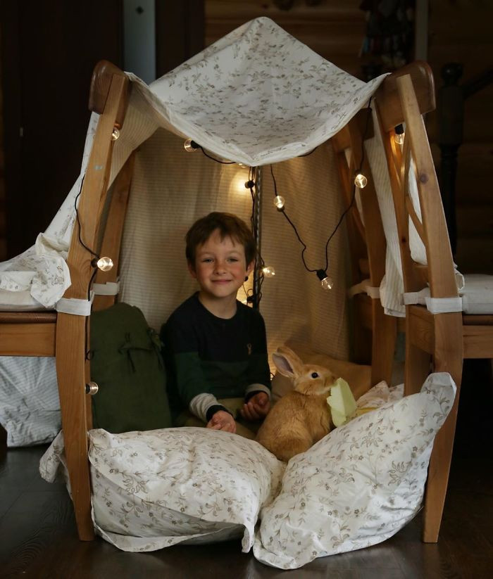 A boy and his bunny, plus a fort. What could be better.
